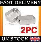 2X ARMY STYLE MESS KIT TIN COOKING POTS CAMPING SET