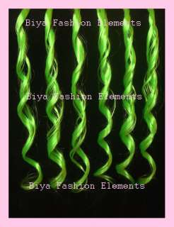 24Clip In Hair Extension Highlight Funky Green Curly