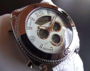 Reloj EveMonCrois B167 Hombre.Dual formato.Crema Piel