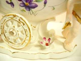 VINTAGE Italian Art Pottery Capodimonte Cherub Putti Vessel Vase Boat