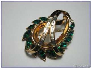Trifari Alfred Philippe 1953 Gold Swirl Green Rhinestone Brooch/Pin
