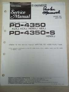 Pioneer Service Manual~PD 4300/4350/S CD Player~Original~Repair