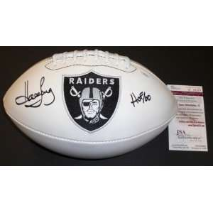 Howie Long Autographed/Hand Signed Oakland Raiders Logo Fotoball