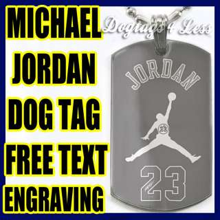 Michael Jordan 23 Design Dog Tag Silver Necklace
