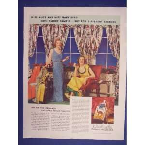 Camel Cigarattes,Miss Alice and Miss Mary Byrd.30s Print