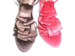 New Brown Platform Satin Dress High Heels Sandals shoes