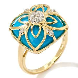 Heritage Gems Turtle Back Turquoise and Diamond 14K Filigree Ring at