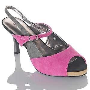 Bijou New York Suede Peep Toe Colorblock Slingback Heels