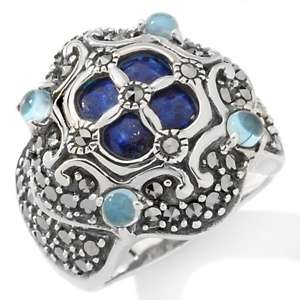 Victoria Crowne Square Marcasite Sterling Silver Open Band Ring