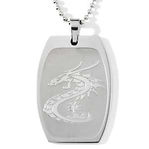 Steel Dragon Design Dog Tag Pendant with 24 Bead Chain