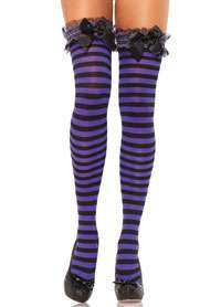 Black And Purple Satin Bow Garter Top Striped Thigh Highs   Pantyhose