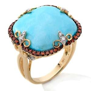 Heritage Gems 14K White Cloud Turquoise and Diamond Ring