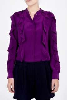 See by Chloe  Purple Ruffle Long Sleeve Silk Blouse by See by Chloe