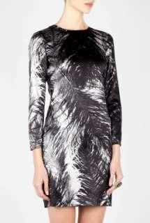 McQ Alexander McQueen  Ostrich Feather Print Silk Shift Dress by McQ