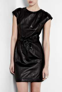 Love Moschino  Black Leather Dress With Tie Bow Waist by Love