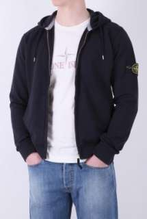 Navy Classic Badge Zip Hoody by Stone Island   Navy   Buy Tops Online