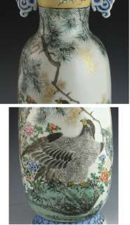 ANTIQUE HAND PAINTED JAPANESE PORCELAIN EAGLE VASE