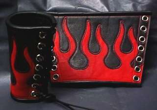 new BLACK LEATHER GaUNTLETS CuFF ReD FLAMES PAiR Biker Rocker