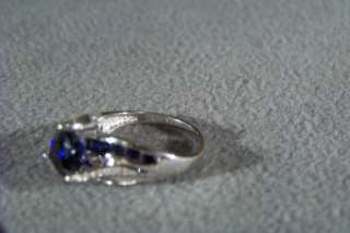 10 K WHITE GOLD 11 LAB CREATED BLUE SAPPHIRE 12 DIAMOND BRIDGE RING 7