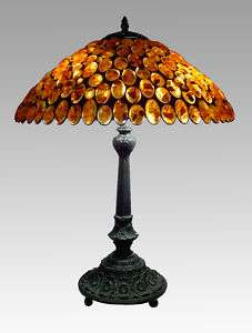 LUXURY TIFFANY AMBER TABLE AND BEDSIDE LAMP LILY