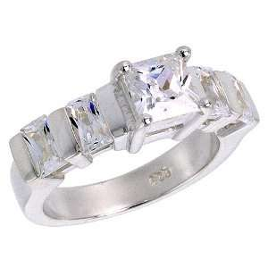 00 Carat Size Princess & Emerald Cut Cubic Zirconia Bridal Ring