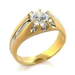 Jewelry   1 Carat Round Clear CZ Gold Tone Ring SZ 8 Jewelry