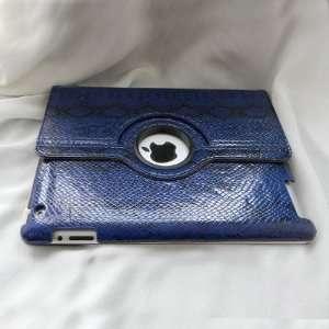 Smart Cover Leather Case Unique Pattern (Dark Blue) for Apple iPad 2