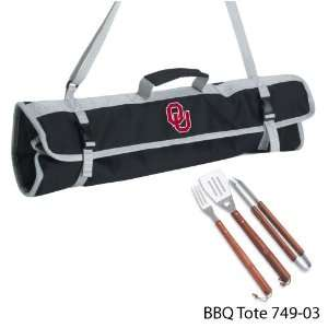 of Oklahoma Printed 3 Piece BBQ Tote BBQ set Black Kitchen & Dining
