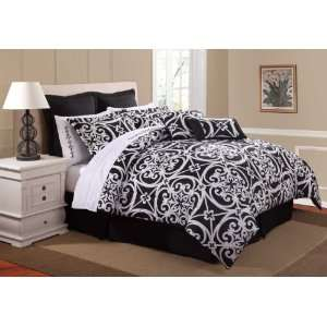 Kennedy 6 Piece Comforter Bed In A Bag Set Black & White