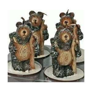 Miniature Standing Black Bear With Stick Figurine