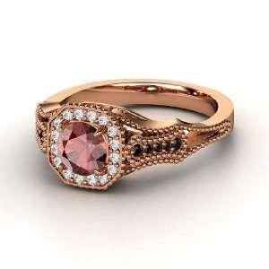 Red Garnet 14K Rose Gold Ring with Diamond & Black Diamond Jewelry