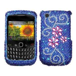 Blue Bling Rhinestone Faceplate Diamond Crystal Hard Skin Case Cover
