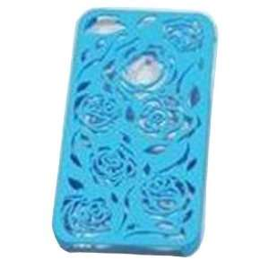 Blue Carving Flower Rose Snap Clip on Hard Cover Case for