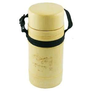 Como Wooden Color Water Holder Bamboo Bottle Cup w Black Nylon Strap