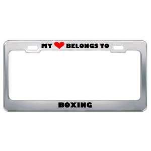 My Heart Belongs To Boxing Hobby Sport Metal License Plate