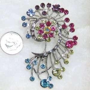 Multicolors Austrian Swarovski Crystals Brooch Pin