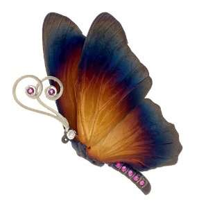 Silver Handmade Multi Color Pink Sapphire Butterfly Brooch Jewelry