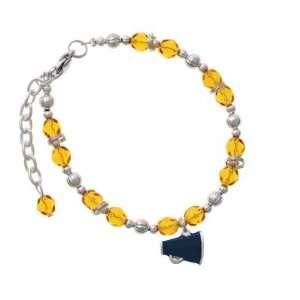 Small Navy Blue Megaphone Yellow Czech Glass Beaded Charm Bracelet