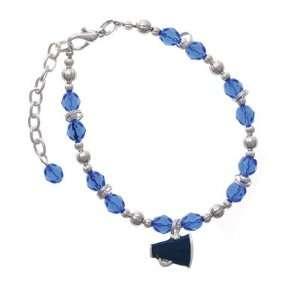 com Small Navy Blue Megaphone Blue Czech Glass Beaded Charm Bracelet
