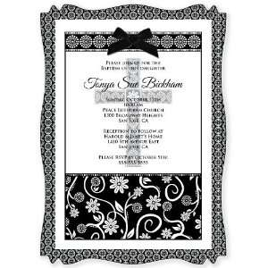 Floral Black & White Cross   Personalized Vellum Overlay Baptism