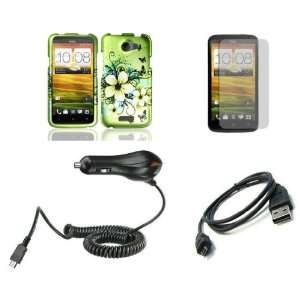 HTC One X (AT&T) Premium Combo Pack   Green Hibiscus Flower and Black