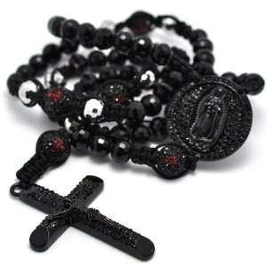 Black Crystal Pave Genuine Round Onyx Beads Cross Rosary Men Chain