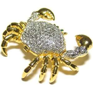 White Crystals Crab Bejeweled Trinket Box