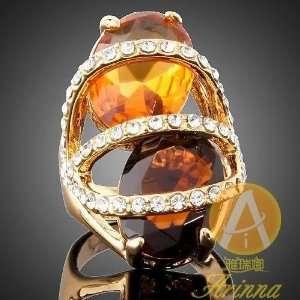 Arinna 2 Huge Stones Gp Swarovski Crystal Cocktail Ring