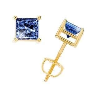 Princess Cut 14K Yellow Gold Stud Earrings with Blue Diamond 1/2 carat