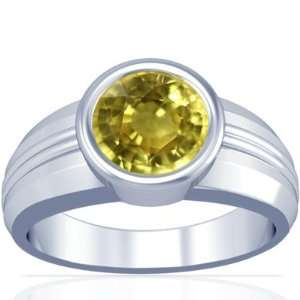 Platinum Round Cut Yellow Sapphire Solitaire Ring Jewelry