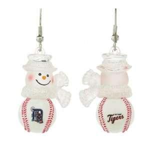Pack of 10 Pairs of MLB Detroit Tigers Snowman Baseball Earrings
