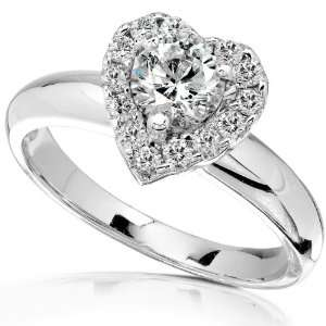 Diamond Engagement Ring in 14Kt White Gold   Size 5 Diamond Me