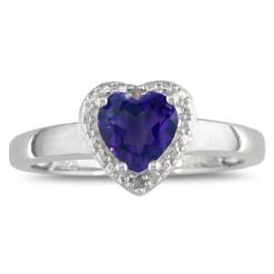Silver Heart Shaped Amethyst and Diamond Ring (2 cttw) Jewelry