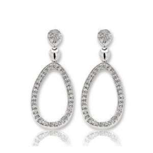 14k White Gold Multiple Diamond Drop Earrings Jewelry